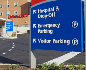 MEDIA, PENNSYLVANIA - MAY 31, 2014:  Signs outside Riddle Memorial Hospital identifying the emergency room representing a typical American hospital.
