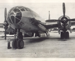 TINIAN ISLAND COMMONWEALTH OF THE NORTHERN MARIANA ISLANDS - Between SEPTEMBER 2 and NOVEMBER 6 1945: Photo from an old album of the Enola Gay the United States Air Force B-29 bomber that dropped the first atomic bomb on Hiroshima Japan on August 5th 1945
